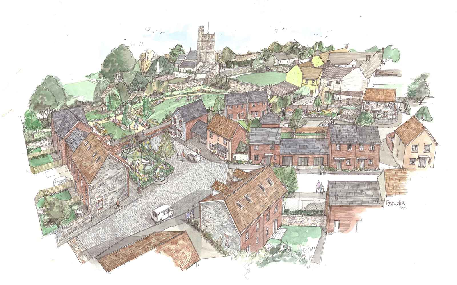Nether Stowey. Sketch by Philip Watts